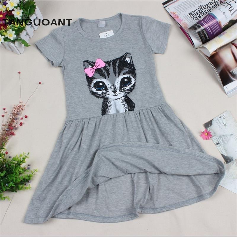 Hot Sale New 2016 summer girl dress cat print grey baby girl dress children clothing children dress 0-8years(China (Mainland))