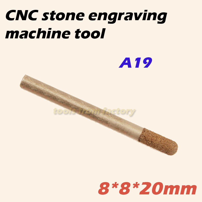1pc 8*8*20mm cnc router diamond stone carving tool stone engraving machine cutter stone cutting bits A19(China (Mainland))