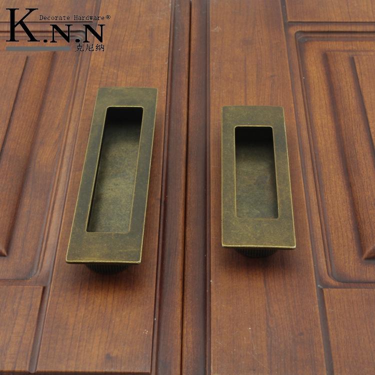 Promotional Hot European copper invisible hidden drawer wardrobe cupboard handle Antique Furniture sliding door(China (Mainland))