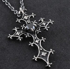 FreeShipping gift Bag Wholesale alloy black crystal fashion jewelry Gothic Midnight Cross Pendant necklace Sweater chain