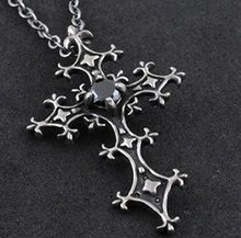 FreeShipping gift Bag Wholesale alloy black crystal fashion jewelry Gothic Midnight Cross Pendant necklace Sweater chain 2011