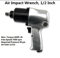 Free shipping Pneumatic general Duty Air Impact Wrench, 1/2 In. Dr., 7000 rpm car wheel air tool Pistol Grip Style
