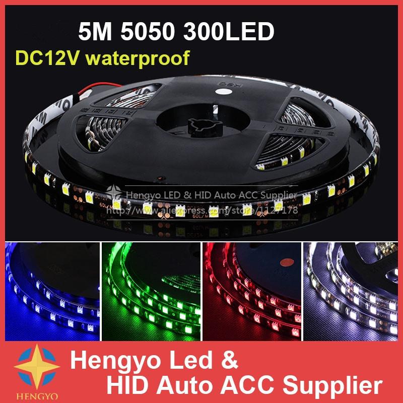 Free Shipment 5M/roll Led Strip 5050 DC12V 5M 300led Flexible 5050 Led Rope Bar Light Waterproof Outdoor Decoration Uter Bright(China (Mainland))