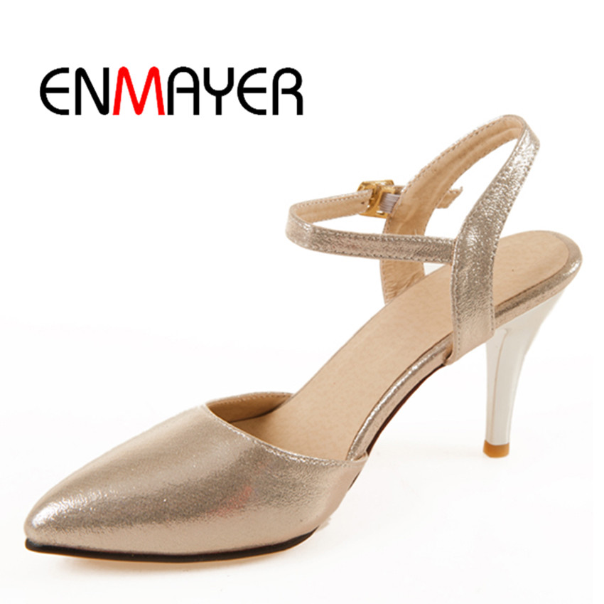 ENMAYER Plus Size 34-43 High Quality Lace-Up Work Party Weeding Gold Blue Red Silver Pointed Toe Polished Pumps Woman Shoes(China (Mainland))