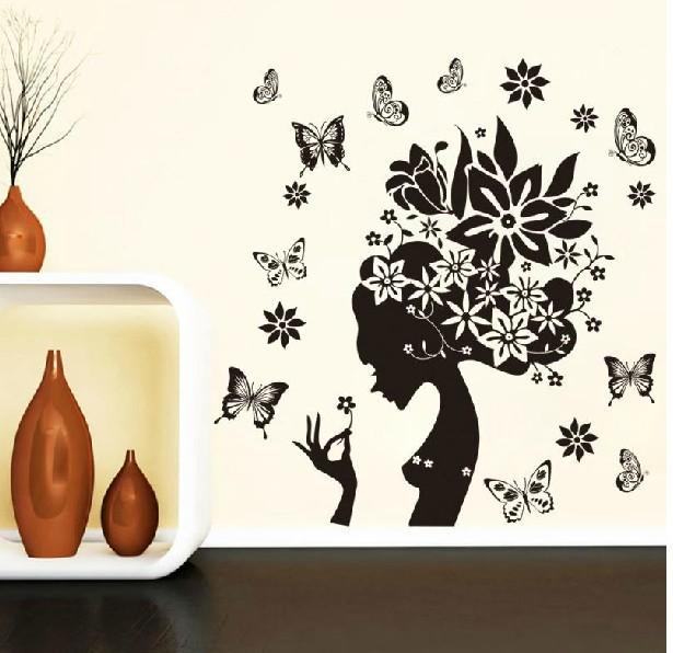 28 38 39 39 noir fleur papillon d cor la maison stickers - Stickers muraux pour salon ...