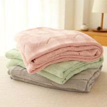 High quality solid color bamboo fibre towel summer blanket knitted nap blanket air conditioning blanket(China (Mainland))