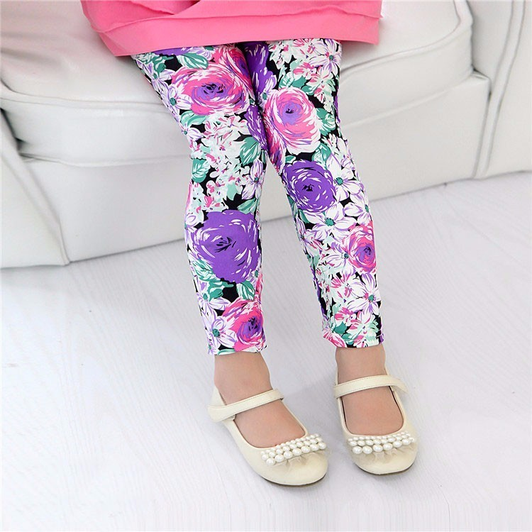 girl new purple pink flower leggings baby autumn print pants kids fashion star dot legging children cheap skinny trousers 1pc(China (Mainland))