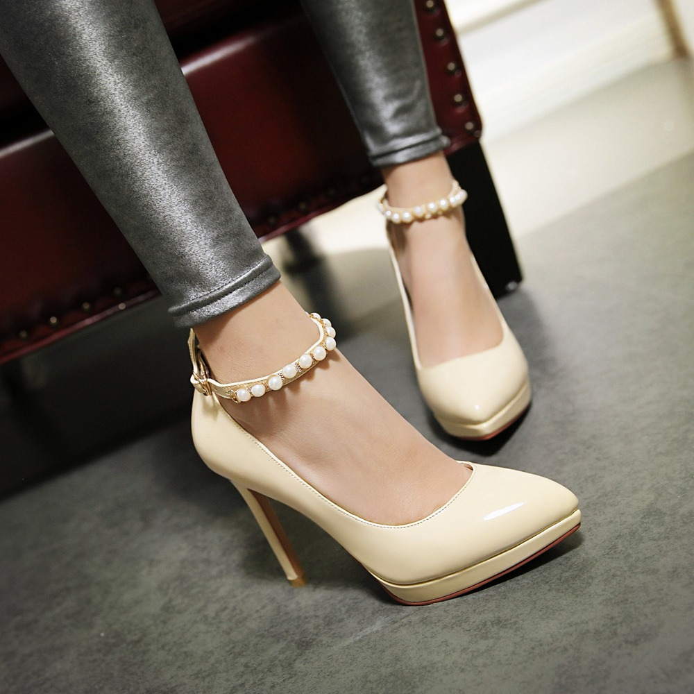 New fashion high heel shoes woman patent leather black heels platform women nude pumps pointed toe party shoes women stilletos