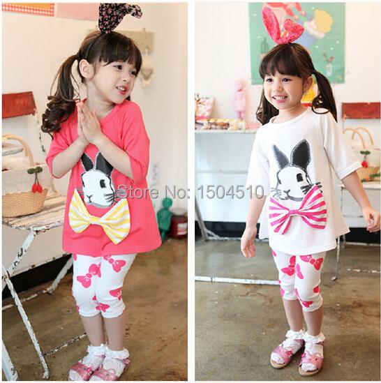 2015 summer kids girls cartoon Rabbit bow t shirt clothing set 100% cotton baby girl long sleeve shirt Leggings suits children  <br><br>Aliexpress