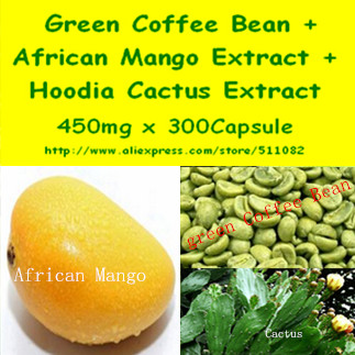 1Pack Green Coffee Bean Extract + African Mango Extract + Hoodia Cactus Extract Complex Caps 450mg x 300pcs(China (Mainland))