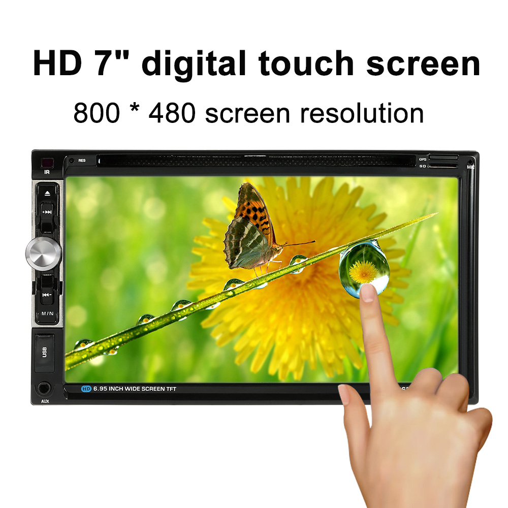 2 Din 7 Inch Car DVD Player Steering wheel control Touch Screen Radio Rear view camera Bluetooth Phone AUX-IN Car Audio Auto(China (Mainland))