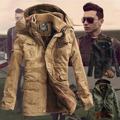 Men's Coat Fur Lining Winter Outerwear Parka Men Man Clothes Military Hoodies Thick Coats & Jackets Fashion Fitness - FORHISIS MEN FASHION STORE store