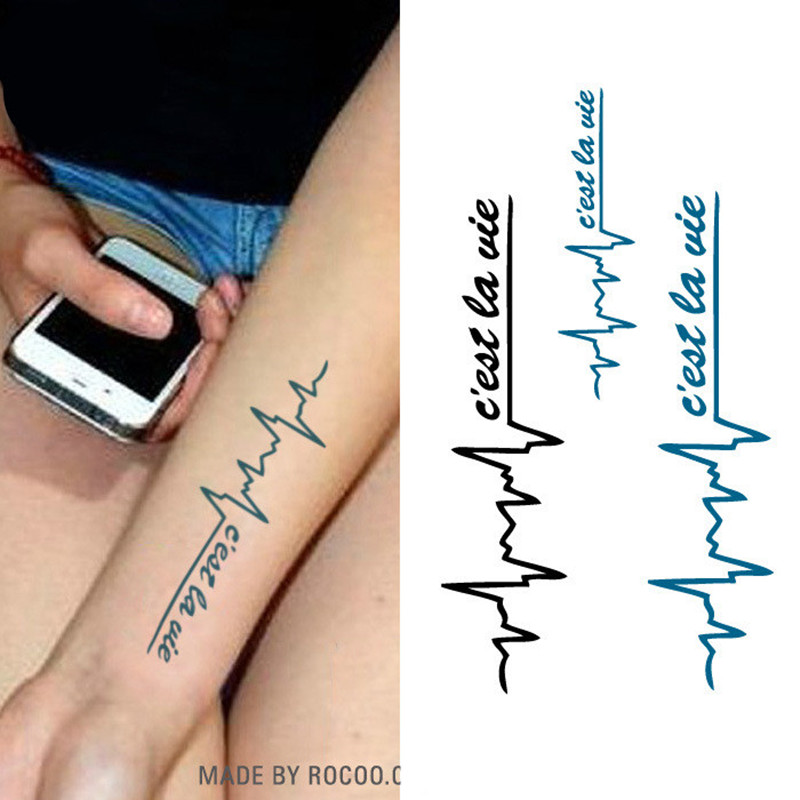 10pcs/lot Henna Tattoo Stencil Women Body Art Paint Heart Electrocardiogram Pattern Drawing Small Henna Template Tattoo Paste(China (Mainland))
