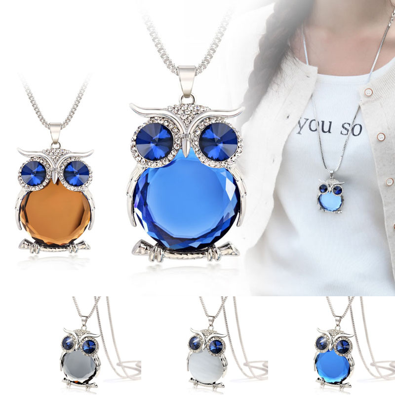 4 Colors New Owl Necklace Top Quality Rhinestone Crystal Pendant Necklaces Classic Animal Long Necklace Jewelry For Women Gift(China (Mainland))