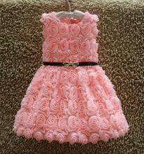 Pink Red Color Summer Lace 3D Rose Flower Sleeveless Girls Dresses Princess Girls Dresses Vestido Infantil Festa princesa