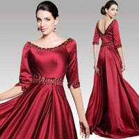 DORISQUEEN free shipping new arrival 31260 Luxury Beaded Empire floor length wine red long maternity evening dresses 2015