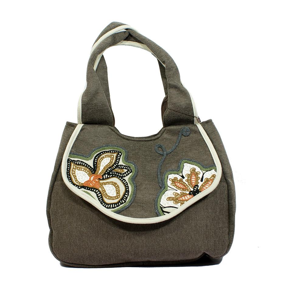 women cotton fabric handbag, national style shoulder & handbags, embroidery flora shell bag for lady(China (Mainland))