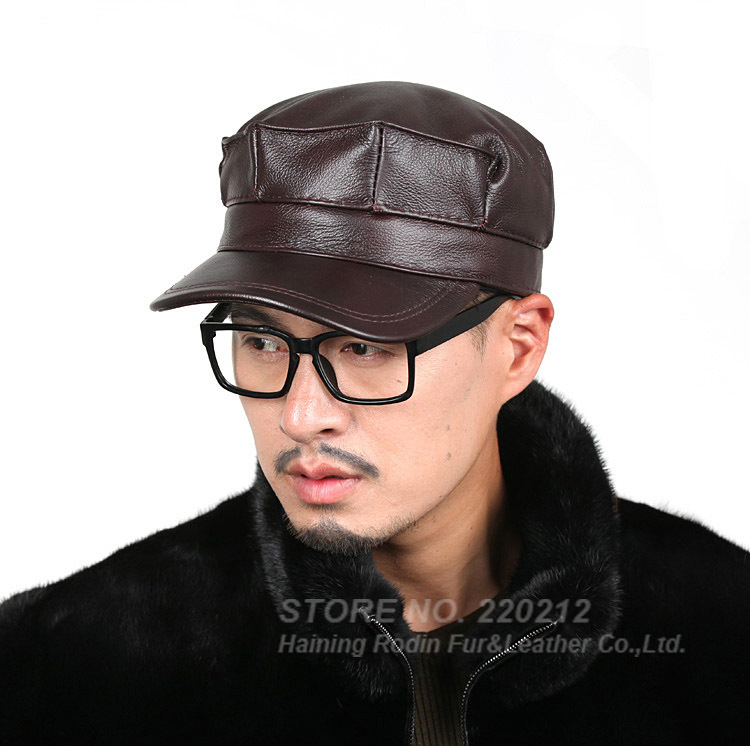 New 2015 winter/autumn first layer of genuine leather fur hat casual cadet cap cowhide military hat for man/woman(China (Mainland))