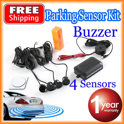 4 Sensors Buzzer 22mm Car Parking Sensor Kit Reverse Backup Radar Sound Alert Indicator Probe System 12V 7 Colors Free Shipping(China (Mainland))