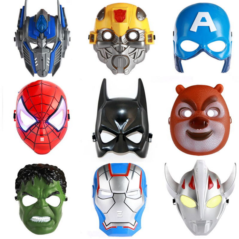 2016 Luminous LED Mask Cosplay Cartoon Mask Toy Spider Man Batman Pacifier Captain America Mask The Hulk Plastic Mask Children(China (Mainland))