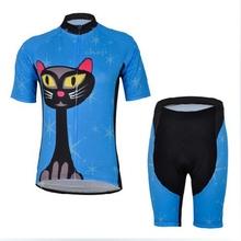 Free Shipping!!! Women Blue Cat Cycling Jerseys and (bib) Shorts Suits Bike Bicycle Sports Racing Clothing Sets Anti-Wrinkle(China (Mainland))