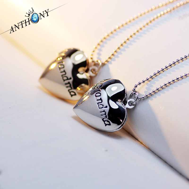 2016 Mother's Day Jewelry Romantic Rose Heart Pendants Fashion Vintage Necklaces Grandma Best Valentine Gifts For Lovers A52(China (Mainland))