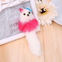Baru 1 Pcs Kawaii Plush Fox Gantung Fashion Wanita Bulu Halus Gantungan Kunci Hewan Mewah Tas Perak Liontin Anak mainan Hadiah(China)