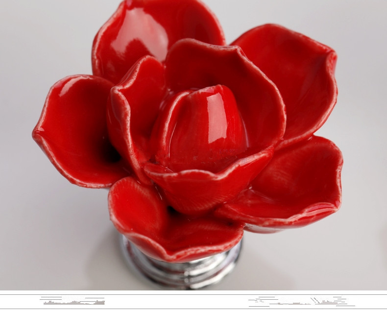 10pcs Red Rose Flower Knobs Ceramic Handle Kids Desk Pulls Drawer Knobs Dresser Kitchen Accessories Drawer Closet  Almirah