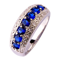 New Women Fetching Fashion Jewelry Blue Sapphire Quartz Round Cut 925 Silver Ring Size 6 7