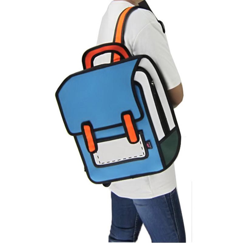 New Arrival High Quality Cute Unisex Schoolbag 2D Bags Cartoon Comic 3D Students Shoulders Bag Satchel Pink/Red/Blue/Purple от Aliexpress INT
