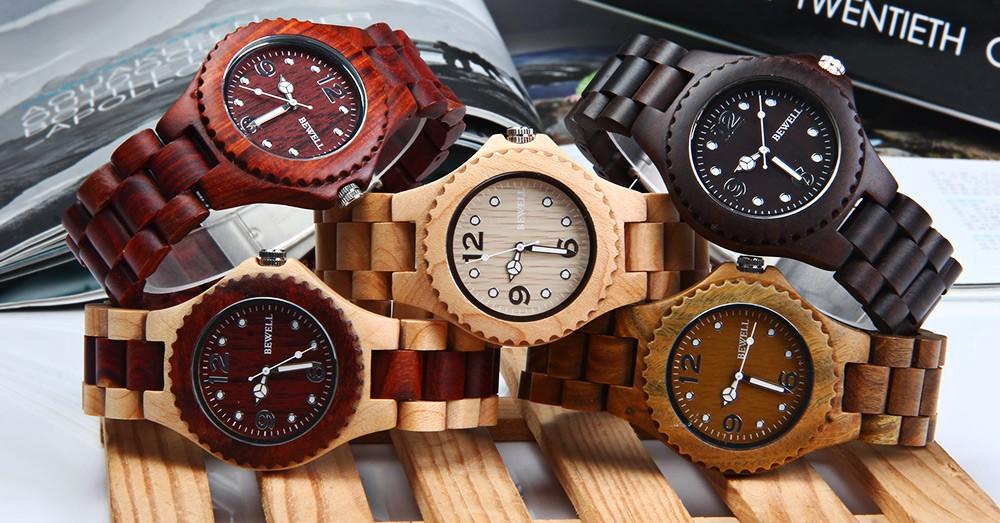 BEWELL 2016 Мужчины Женщины Сандал Кварцевые Часы Роскошные Элегантные Деревянные Часы Водонепроницаемые Аналоговый Наручные часы relógio