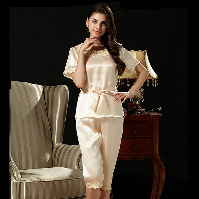 Pyjamas Women Real Silk Pajama Sets With Belt Sleepwears Women Casual Sexy Lace Ladies Nightshirt Camisola Home Clothing Hanslin(China (Mainland))