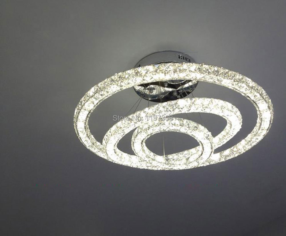 modern led pendant lights k9 crystal circle ring cord hanging lamp three side crystals art. Black Bedroom Furniture Sets. Home Design Ideas