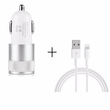 3 Colors Universal Dual USB Car Charger+ USB Charging Data Cable For iPhone 5 5s 6 6s Apple Tablet  USB Data Cable Car Charger(China (Mainland))