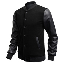 Veste Homme 2016 Autumn Slim Fit Casual Sports Baseball Jackets PU Leather Sleeve Jacket Men Bomber Jackets And Coats(China (Mainland))