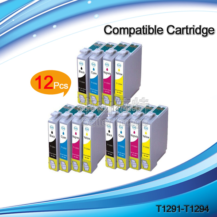 12 PCS Compatible Ink Cartridge T1291 T1292 T1293 T1294 Ink Printer Cartridge for SX525WD SX620FW BX525WD BX625FWD etc.(China (Mainland))