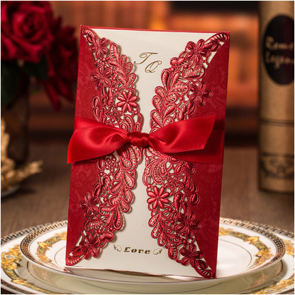 High-Class-Wedding-Invitations-Cards-with-Ribbon-2016-Red-Flora-Birthday-Party-Invitations-for-Engagement-Convites