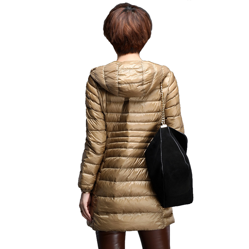 2015 Euro-Stars thin style winter coat women slim hooded down parka long winter jacket women outerwear elegant down jacket coat
