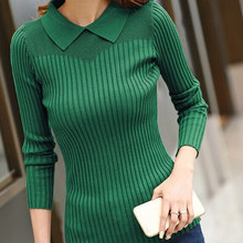 Women's sweater female 2015 spring women's turn-down collar pullover long-sleeve slim sweater(China (Mainland))
