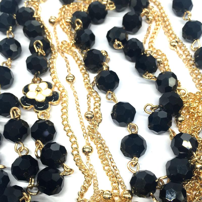 HTB1SXYkKpXXXXa6XXXXq6xXFXXXa - Black Simulated Pearl Jewelry Three Layer Thin Chain Long Necklace Women Collier Perle Bijoux/Collares Perlas Largos/Bijouterie