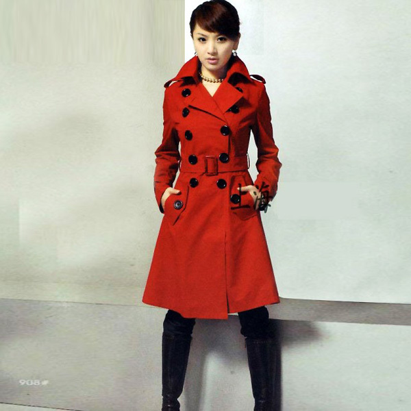 Women plus size stand collar casual slim double breasted wool coat woolen overcoat outerwear - bingwen chen's store