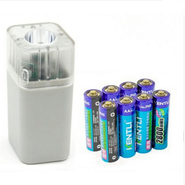 8pcs KENTLI 1.5v 2800mWh Li-polymer li-ion lithium rechargeable AA battery batterie + 4 slots Charger w/ LED flashlight(China (Mainland))