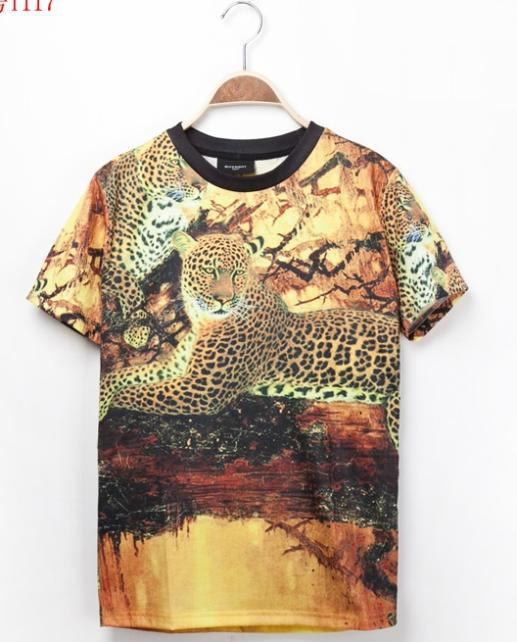 2014 New Hot Brand American Cheetah Printed Style Summer Tops man's Fashion Short Sleeve Shirts Cheap Shipping(China (Mainland))
