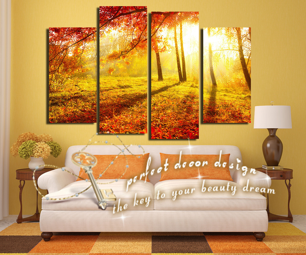 Home decor art canvas painting for living room gold life full leaves beauty decor through the - Home decor stores orlando paint ...