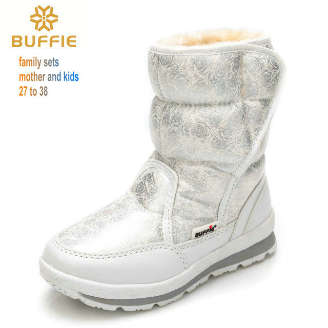 Девочек сапоги 2016 зима новый детские ботинки снега детская обувь детей теплые меховые водонепроницаемый дочь белый бренд девочек мода обувь