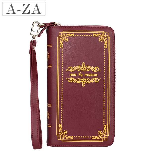 Aza 2013 spring vintage book bronzier women's design cowhide long wallet 70293