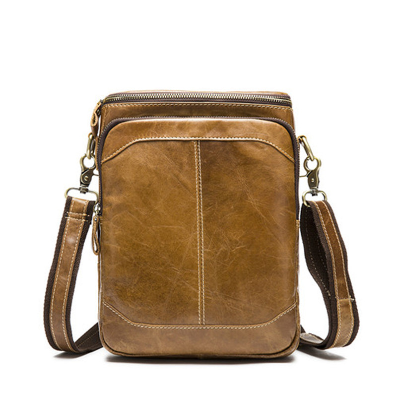 2016 fashional brown coffee color men's genuine leather bags zipper cowhide leather messenger shoulder bags online crossbody bag(China (Mainland))