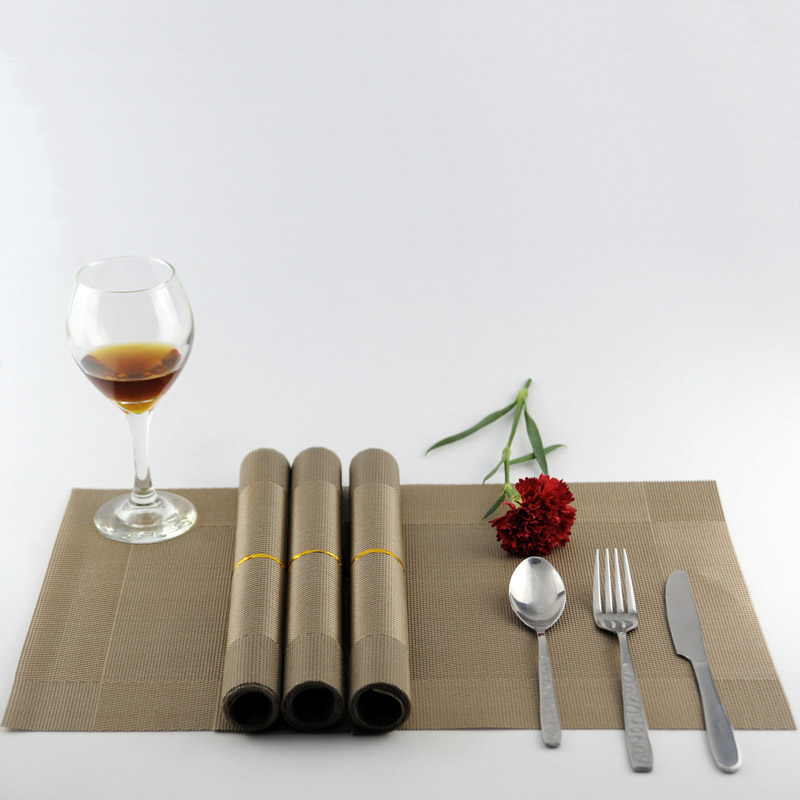 4pc/set Non-slip PVC Place mat Plastic Table Mat Of Simple Pattern For Table Decoration Classical Color Brown Black Grey Blue(China (Mainland))