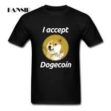 Saya menerima Dogecoin Pria T Shirt Swag Tee Kemeja Pria Putih Lengan Pendek Kustom Plus Ukuran Pakaian Atasan Untuk Tim(China)