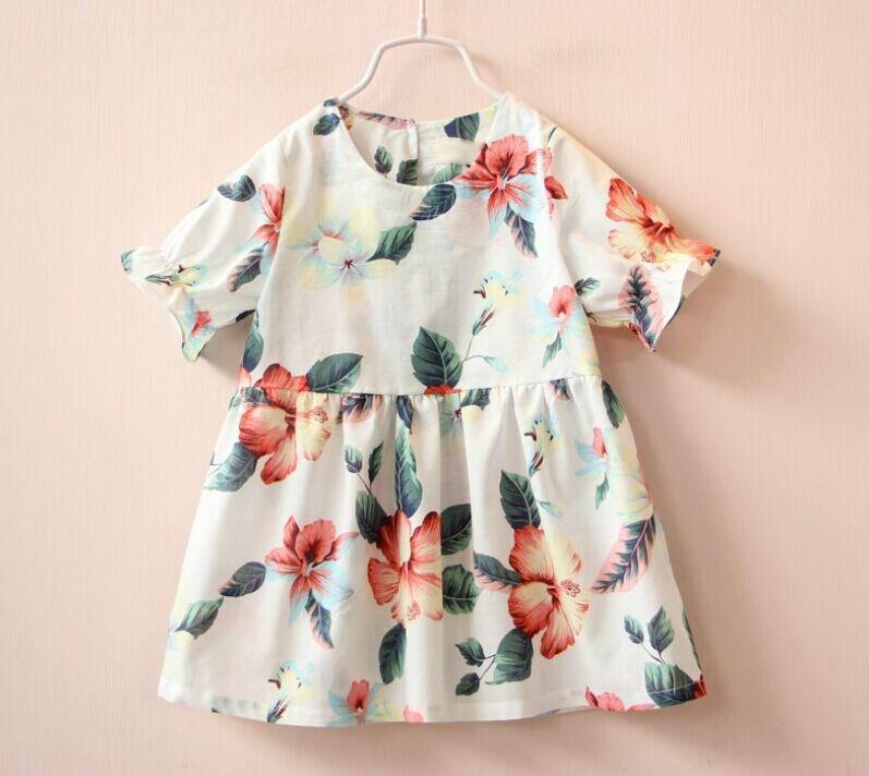 2016 Summer New Girl Shirts Flower Fruit Print Cotton Short Sleeve Blouse Wholesale Children Clothing 2-7T 309849<br><br>Aliexpress
